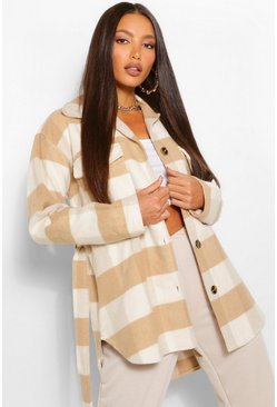 Stone beige Tall Wool Look Checked Belted Shacket
