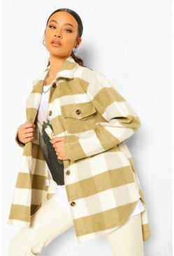 Khaki Tall Wool Look Checked Belted Shacket