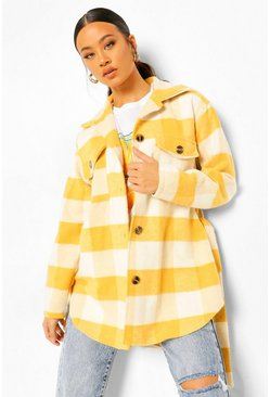 Mustard yellow Tall Wool Look Checked Belted Shacket