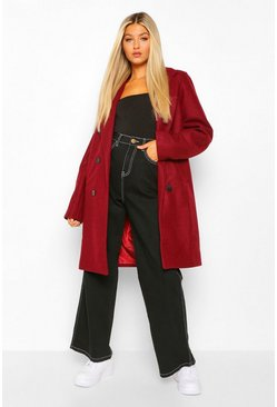 Berry red Tall Double Breasted Wool Look Coat