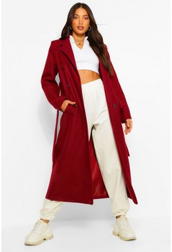 Berry red Tall Double Breasted Wool Look Longline Coat