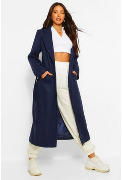 Navy Tall Double Breasted Wool Look Longline Coat