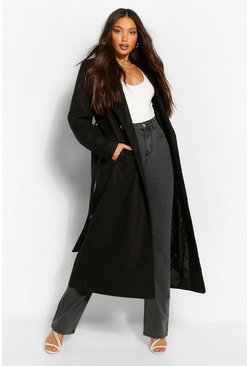 Black Tall Double Breasted Wool Look Longline Coat