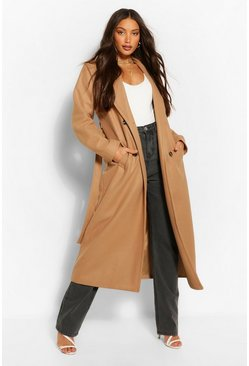 Camel beige Tall Double Breasted Wool Look Longline Coat