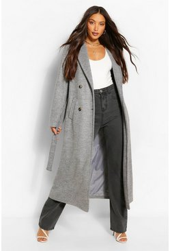 Grey Tall Double Breasted Wool Look Longline Coat