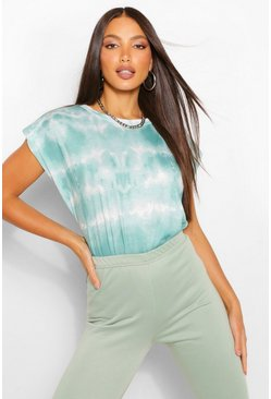 Green Tall Tie Dye Shoulder Pad Jersey T-Shirt