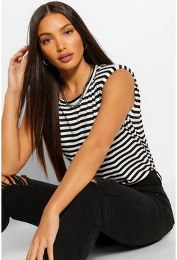 Black Tall Stripe Shoulder Pad Jersey T-Shirt