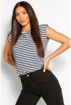 Navy Tall Stripe Shoulder Pad Jersey T-Shirt