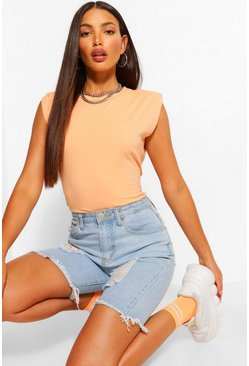 Peach orange Tall Shoulder Pad Jersey T-Shirt