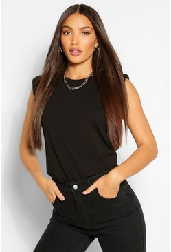 Black Tall Shoulder Pad Jersey T-Shirt