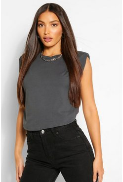 Charcoal grey Tall Shoulder Pad Jersey T-Shirt