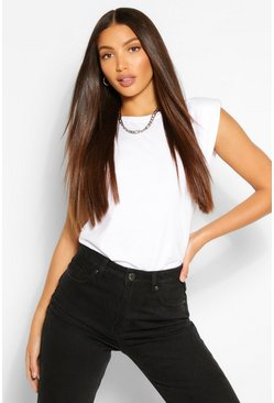 White Tall Shoulder Pad Jersey T-Shirt