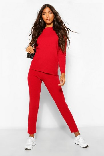 Berry red Tall Boxy Rib Knit Co-Ord