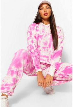Pink Tall Tie Dye Hoody And Joggers Set