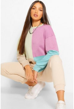 Lilac purple Tall Colour Block Oversized Long Sleeve Sweat