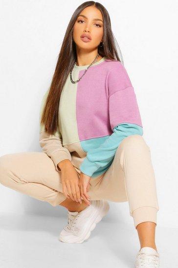 Lilac purple Tall Colour Block Oversized Sweatshirt