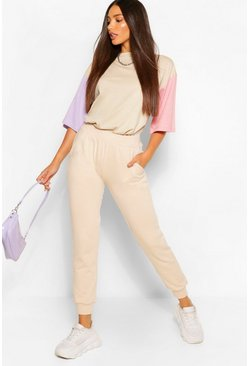 Lilac Tall Colour Block Sleeve Oversized T-Shirt