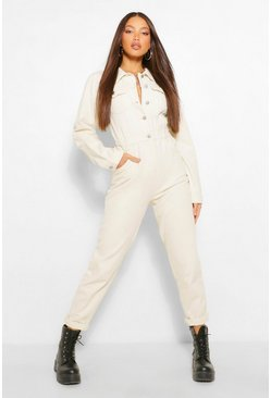 Ecru white Tall Denim Pocket Boilersuit