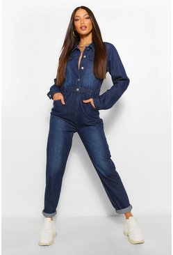 Indigo blue Tall Denim Pocket Boilersuit