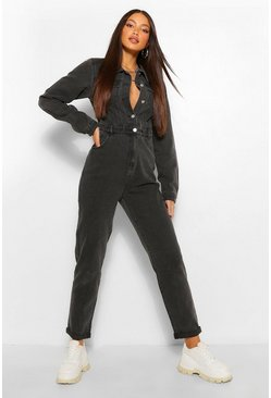 Washed black Tall Denim Pocket Boilersuit