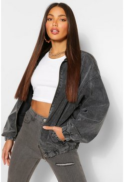 Grey Tall Denim Oversized Bomber Jacket