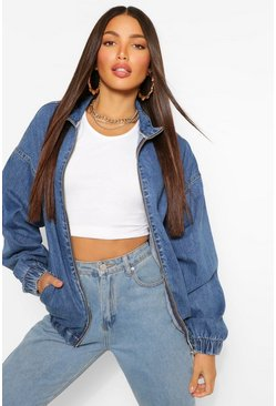 Mid blue blue Tall Denim Oversized Bomber Jacket