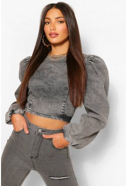 Grey grå Tall - Crop top i denim med puffärm