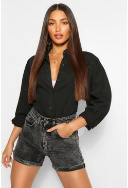 Black Tall Denim Puff Sleeve Shirt