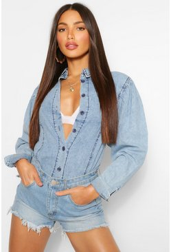 Mid blue blue Tall Denim Puff Sleeve Shirt