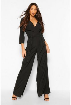 Black Tall Woven Wrap Tie Belt Jumpsuit