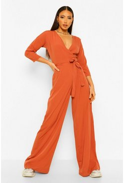 Tall Wickel-Jumpsuit aus Webstoff mit Bindegürtel, Terrakotta orange