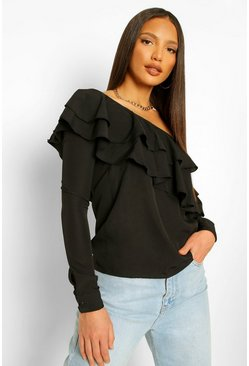 Black svart Tall - One shoulder-topp med volanger