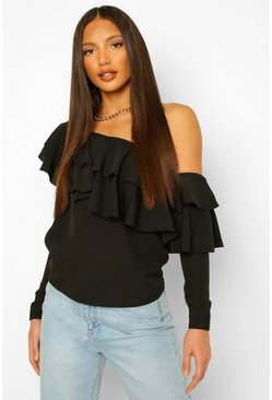 Black Tall Woven Ruffle One Shoulder Top