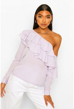 Lilac purple Tall Woven Ruffle One Shoulder Top