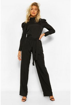 Black Tall Woven Tie Waist Wide Leg Trousers