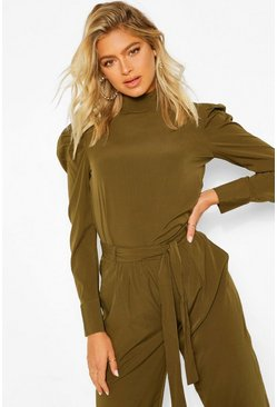 Khaki Tall Woven Puff Sleeve Blouse