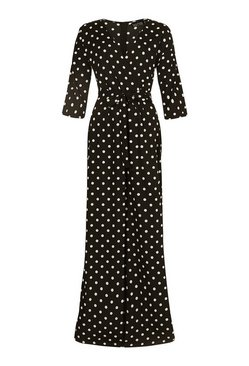 Black Tall Polka Dot Wrap Tie Belt Jumpsuit