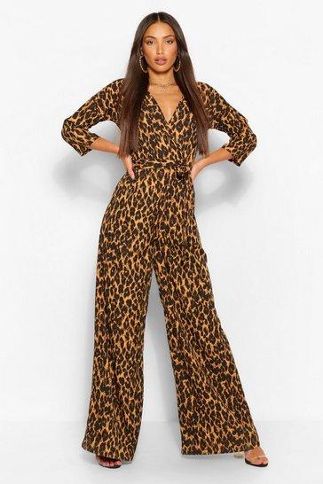 Tall Leopard Wrap Tie Belt Jumpsuit