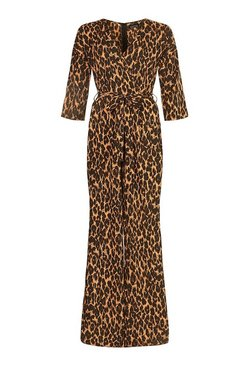 Tall Leopard Wrap Tie Belt Jumpsuit