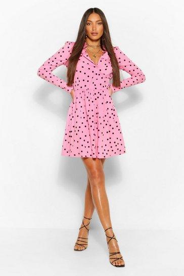Pink Tall Polka Dot Skater Shirt Dress