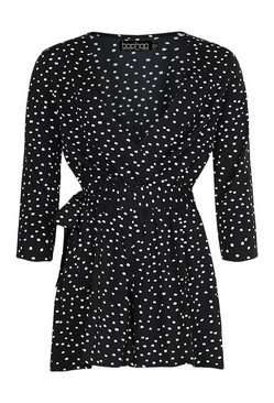 Black Tall Monochrome Spot Print Wrap Playsuit