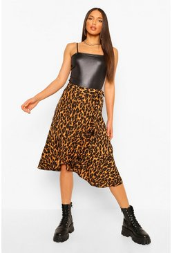 Tall Leopard Print Wrap Midi Skirt