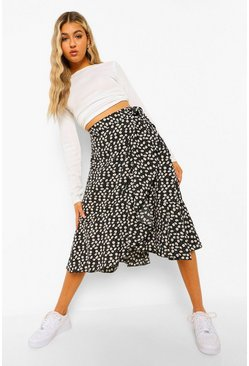 Black Tall Polka Dot Wrap Midi Skirt