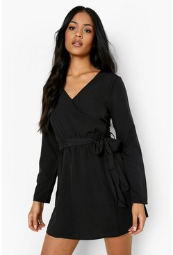 Black Tall Double Wrap Skater Dress