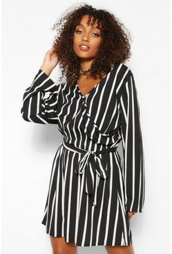 Black Tall Stripe Double Wrap Skater Dress