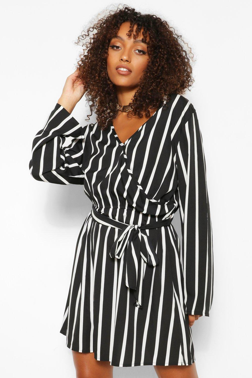 Tall Clothing Tall Stripe Double Wrap Skater Dress