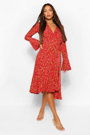 Red Tall Floral Print Wrap Midi Dress