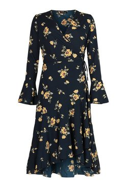 Black Tall Floral Print Wrap Midi Dress