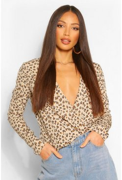 Tall Leopard Print Wrap Front Blouse