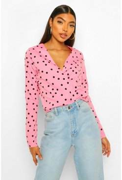 Pink Tall Spot Print Wrap Front Blouse